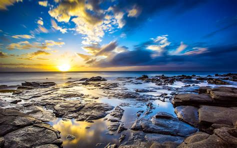 Sunrise Ocean Landscapes Nature Coast Sun Dawn Rocks Hawaii Usa Sunlight Hdr Photography