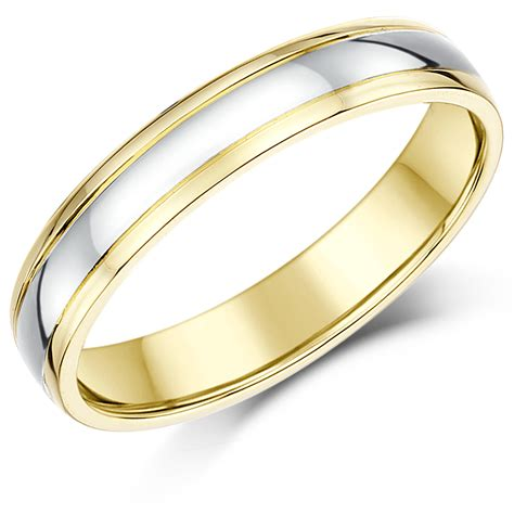 4mm 9ct two colour gold court shape wedding ring band 9ct 2 colour gold at elma uk jewellery