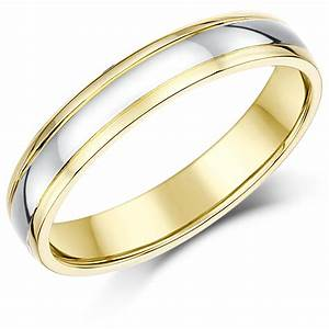 4mm 9ct two colour gold court shape wedding ring band With wedding ring with 2 bands