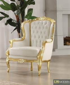 gold white venice style accent wing arm chair