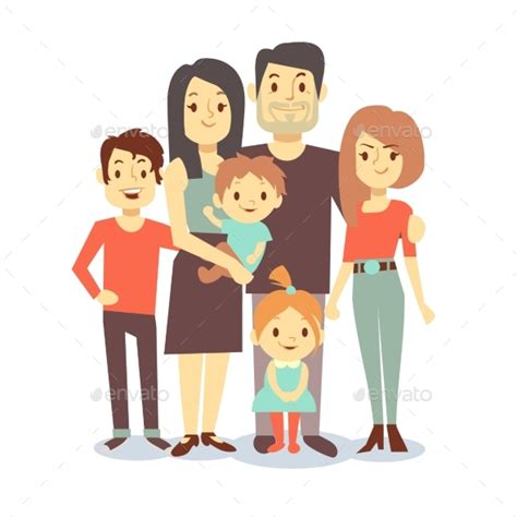cartoon family vector characters  casual  microvone