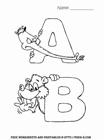 Preschool Coloring Alphabet Pages Worksheets Letters Animal