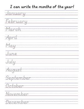d nealian handwriting practice months of the year by the teach boutique