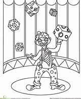 Coloring Clown Juggling Carousel sketch template