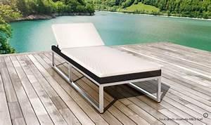 Bain De Soleil En Aluminium : bain de soleil design noir et blanc en r sine tress e ~ Teatrodelosmanantiales.com Idées de Décoration
