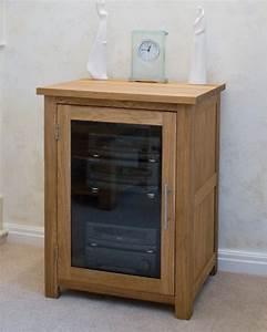 Eton Solid Oak Furniture Hi Fi Cabinet Storage Cupboard
