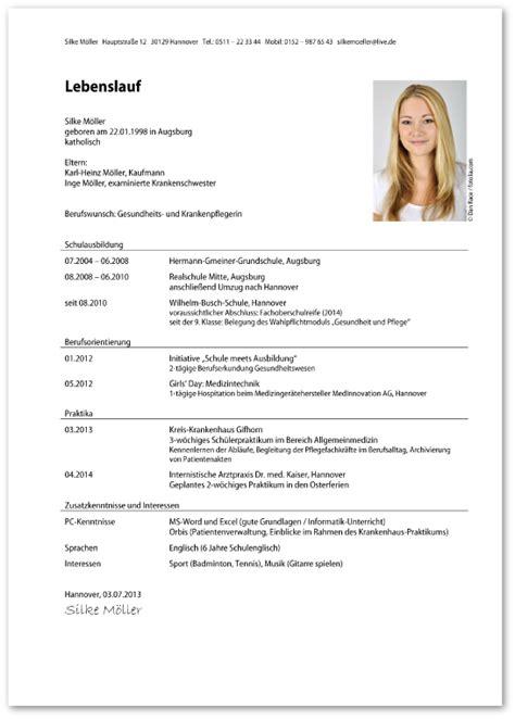 Lebenslauf Muster Ausbildung by Lebenslauf Ausbildung Muster Design