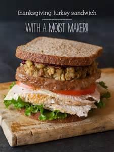 thanksgiving turkey sandwich with a moist maker spoon fork bacon