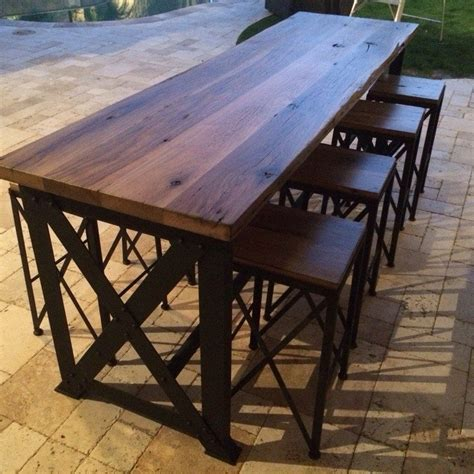 Reclaimed Oak/Ash Outdoor Bar Table   Porter Barn Wood
