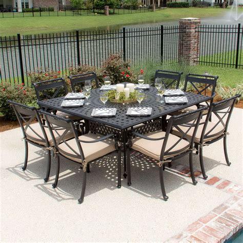 square outdoor dining table seats 8 patio table seats 8 darlee santa 9 cast aluminum