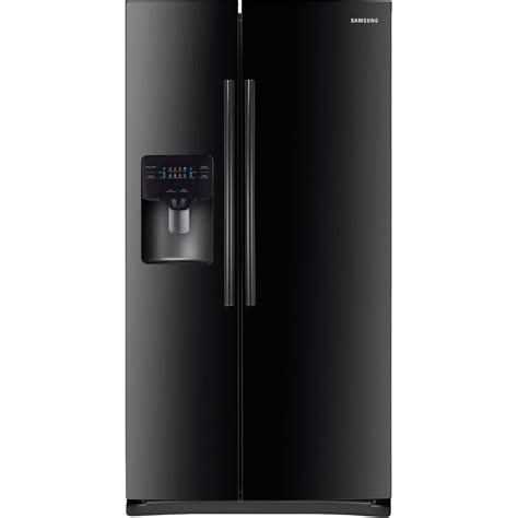 samsung side by side samsung 24 5 cu ft side by side refrigerator in black rs25j500dbc the home depot
