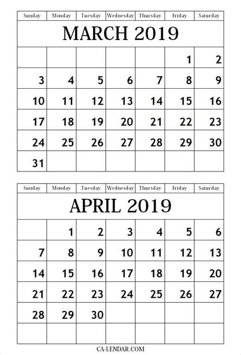 calendar march april  printable template