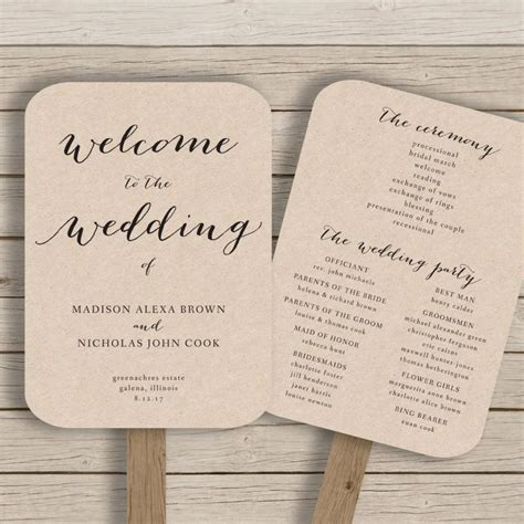 Free Printable Wedding Program Templates Word by Wedding Program Fan Template Printable Rustic Wedding