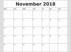 November 2018 Calendar Template calendar template excel