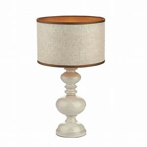Contemporary White Table Lamp with Natural Shade - Double ...