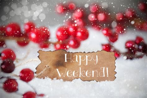 burnt label snow snowflakes text happy weekend stock