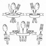 Utensils Silverware Cubiertos Cutlery Knife Mesa Utensilios Dinner Drawing Eetgerei Fork Besteck Widelec Premium Posate Tenedor Cuchara Retro Spoon Cuchillo sketch template