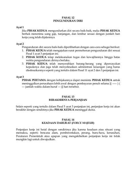 contoh surat perjanjian kontrak kerja  phpapp