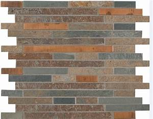 Rustic creek stone mosaic backsplash for Rustic stone tile backsplash