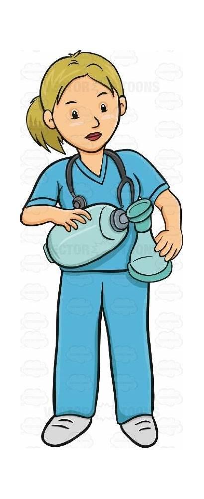 Nurse Female Ventilator Holding Doctor Standing Scrubs