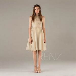 2015 beige bridesmaid dressa line chiffon dress short for Short beige wedding dresses