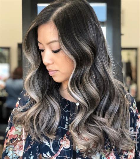 ideas  gray  silver highlights  brown hair