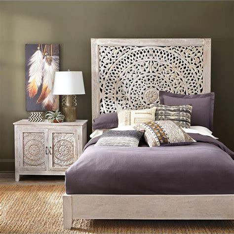 mystical mandala carved wood boho bed compare