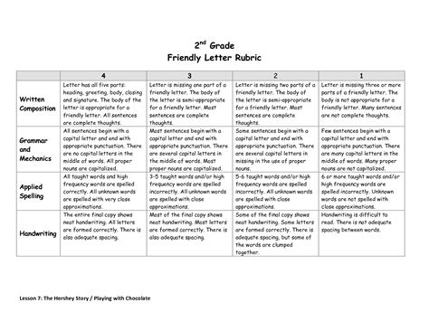 grade  grade friendly letter rubric debra