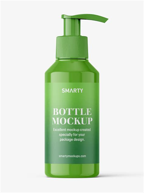Layered psd with smart object insertion license: Small glossy bottle with pump mockup - Smarty Mockups