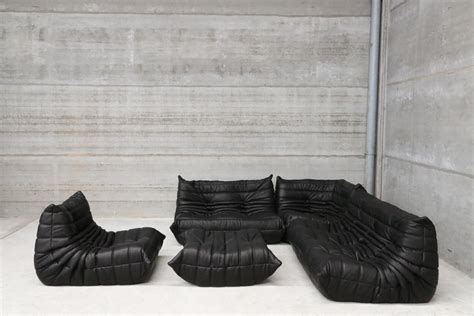 canapé togo ligne roset vintage black leather togo lounge set by michel ducaroy