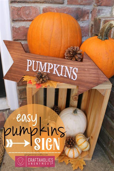 craftaholics anonymous easy fall craft pumpkins arrow sign