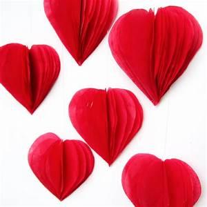 DIY 3D VALENTINE'S DAY TISSUE PAPER HEART DECORATIONS