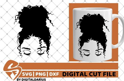 Available online silhouette editor before downloading. Messy Bun svg, High Bun svg, Curly Hair svg, Black Woman ...