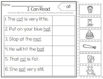 Simple sentences / reading sentences for kindergarten & grade 1, beginners, english reading practice. Simple Sentences, CVC Words, Sight Words, Cut and Paste ...