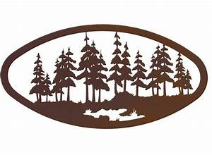 Quot oval large pine forest metal wall art nature decor