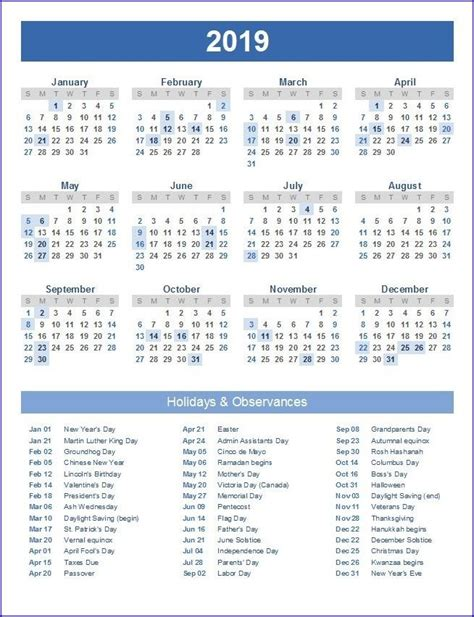 printable  calendar excel holiday calendar