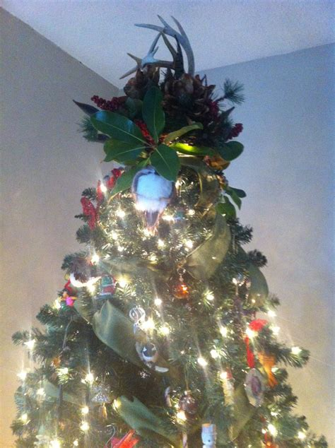 deer antler christmas tree topper in joy the holidays