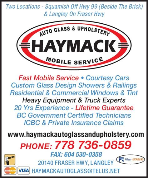 haymack auto glass upholstery opening hours