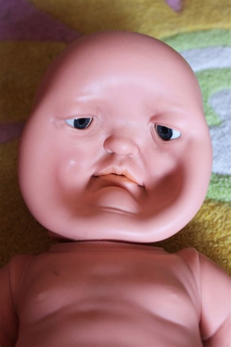 accidentally stepped   daughters baby doll face toy