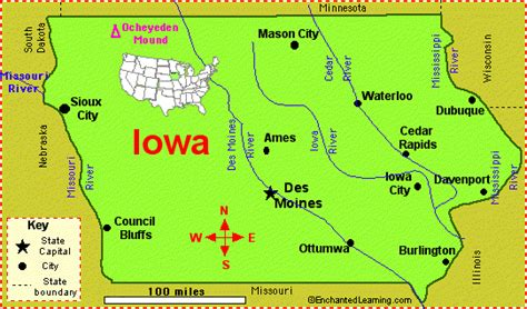 iowa facts map  state symbols enchantedlearningcom
