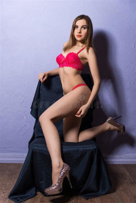 young girl  erotic red lingerie stock photo image