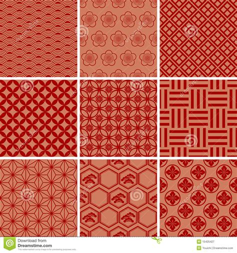 japanese traditional red pattern set stock vector image