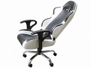 Siege baquet fauteuil de bureau chaise de bureau baquet for Fauteuil cuir blanc