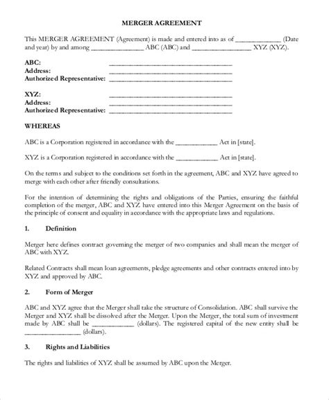 Merger Agreement Template by 9 Merger Agreement Templates Free Sle Exle Format