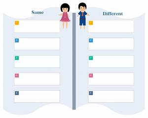 compare and contrast chart printable graphic organizers With comparison graphic organizer template