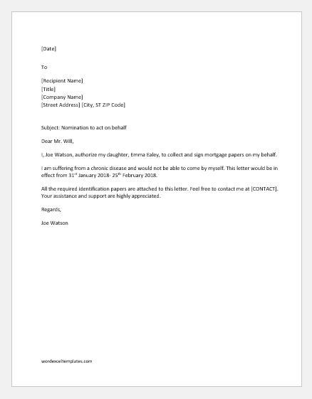 letter  authorization  act  behalf