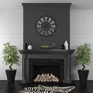 Salon Avec La Cheminée Noire Dans Le Style Classique Image
