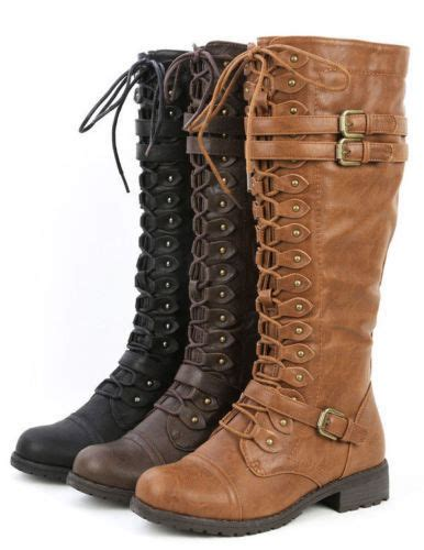 Womens Knee High Lace Buckle Fashion Military Combat