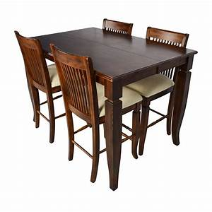 75 off tall extendable dining room table set tables for Tall dining room table