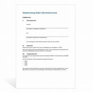 Wie Kündigt Man Eine Wohnung : muster kadervertrag maximalversion ~ Lizthompson.info Haus und Dekorationen